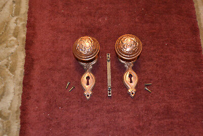 Antique Vintage Aesthetic Set Of Solid Brass Door Knobs Face Plates,  #33