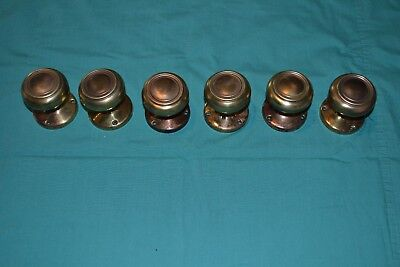 Antique Vintage Aesthetic Eastlake Brass  Matching Door Knobs & Rosettes, ????