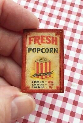 Dollhouse miniature Vintage POPCORN Sign Red & White striped 1:12
