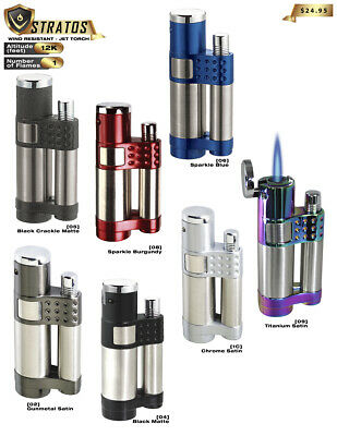 TORCH LIGHTER Vector Stratos Butane Cigar Single Jet LIFETIME WARRANTY