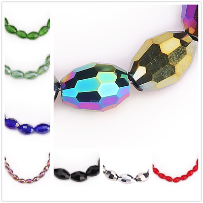 Rugby Oval Faceted Crystal Glass Beads Spacer Jewelry Making Loose Bead 8x6mm