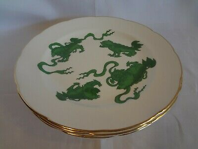 Wedgwood China - Chinese Tigers Green - Set of 4 Dinner Plates