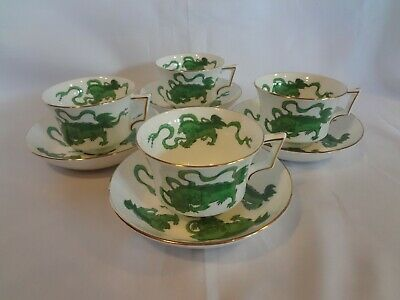 Wedgwood China - Chinese Tigers Green - Set of 4 Cups and Saucers