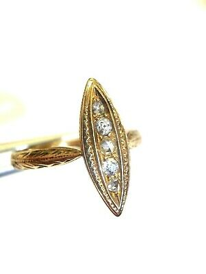 Lovely 18K Yellow Gold Antique Victorian Mine and Rose Cut Diamond Navette Ring