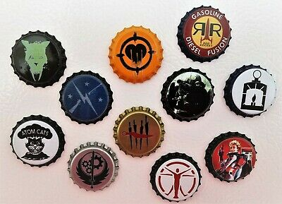 Set of 11 Unofficial Fallout Bottle Caps set Nuka  Girl Power Armor Red Rocket!