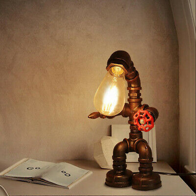 Iron Pipe Steampunk Table Lamp Vintage Robot Desk