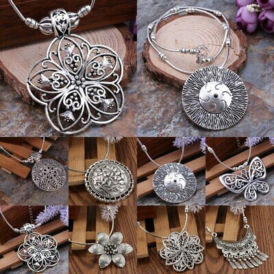 Vintage Women's Hollow Flower Round Sun Necklace Chain Tibetan Silver Pendant