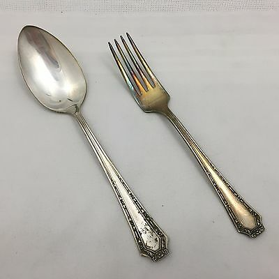 "Lot Of 2 Pieces Vintage ""Fairfield"" Silver Plate Silverware Fork & Spoon-No Res"