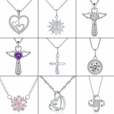 New Fashion 925 Silver Crystal Cross Necklaces Pendant Jewelry Mother's Day Gift
