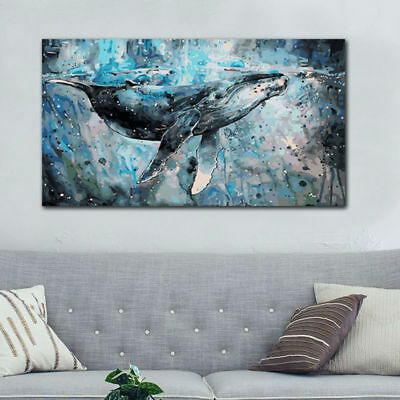 Large Abstract Whale Hand-Painted Oil Painting Modern Art Home Decor Wall Canvas