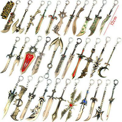 Game League Of Legends Champ Sword LOL Weapon Keychain Metal Key Rings 12CM Gift