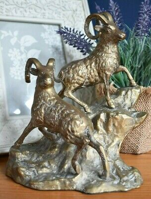 Vintage Brass Statue Pair Of Mountain Goats Rams Sheep Figurine Ornament