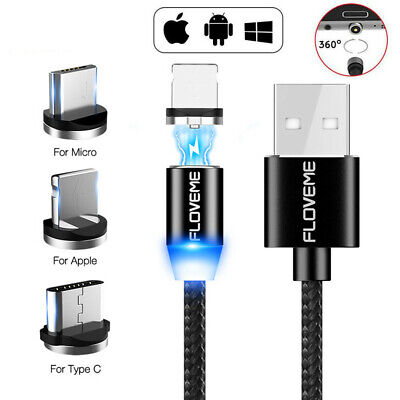 LED Braided Magnetic USB Type-C IOS Charger Charging Cable 360 Degree Rotation