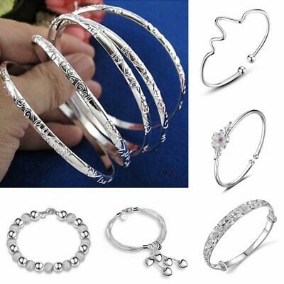 Women Bangle Chain Bracelet 925 Silver Heart Crystal Cuff Charm Wedding Jewelry