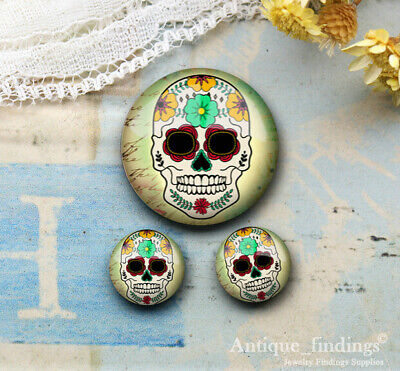 25MM+2PCS 12mm Sugar Skull Glass Cabochon Dome Cameo Cabs RCH027F