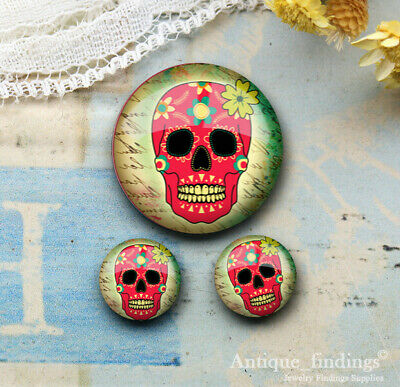25MM+2PCS 12mm Sugar Skull Glass Cabochon Dome Cameo Cabs RCH027B