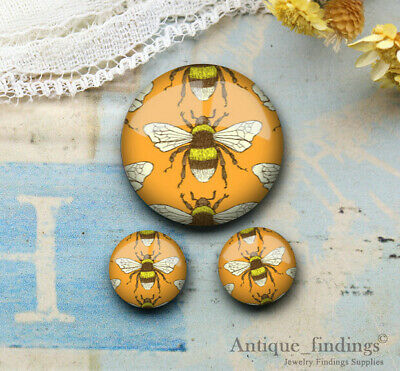 25MM+2PCS 12mm Bee Glass Cabochon Dome Cameo Cabs RCH024F