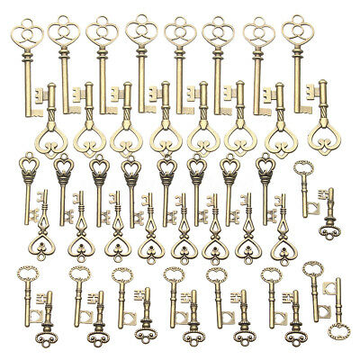AUS 125Pcs Bronze Keys Vintage Royal Antique Old Look Skeleton Heart Bow
