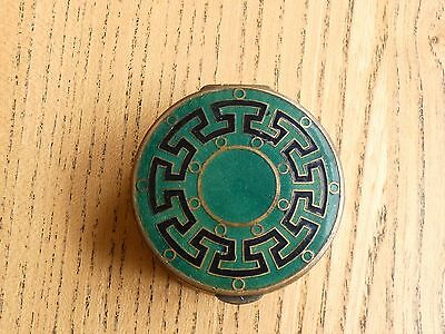 Lovely Enamel on Brass Champleve Patch or Pill Box