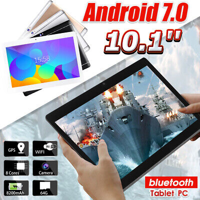 AUS 10.1'' 64GB+4G Android 7.0 Tablet PC Octa 8 Core HD WIFI bluetooth 2 SIM