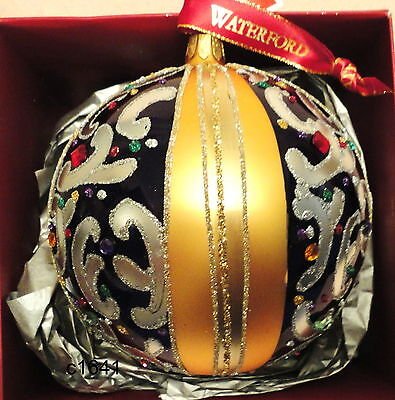 """Waterford Holiday Heirlooms 2013 Sapphire Scroll Ball 5"""" Ornament - New In Box"""