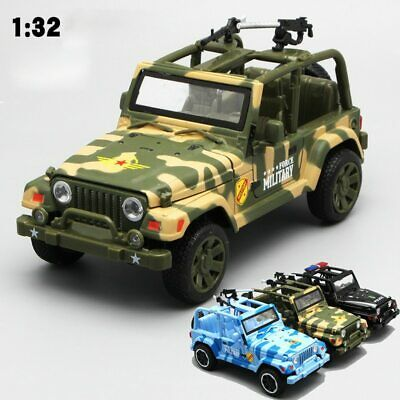 Army Military Jeep 1:32 Diecast Metal Model Car Camouflage Green Blue Black Toy