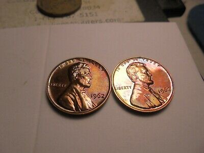 2- BU /// UNC  1962 -P RAINBOW TONED  Proof Lincoln Memorial Cents #WH262P