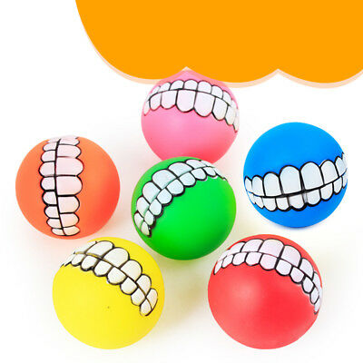 pet dog ball teeth funny silicon toy chew squeaker squeaky sound dogs play toyES