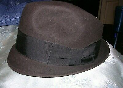 33736f669f528  J Mens Vintage The New Yorker Henry the Hatter Brown Wool Felt Fedora Hat 7