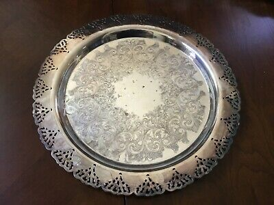 Home Decorators Inc Silver Plated Round Tray Serving Platter pierced scalloped