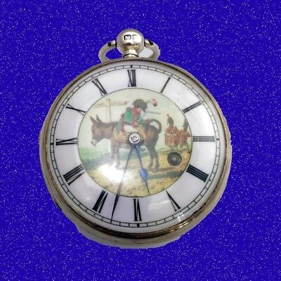 Stunning Silver Napoleon on Way to Elba Verge Fusee Polychrome Pocket Watch 1814