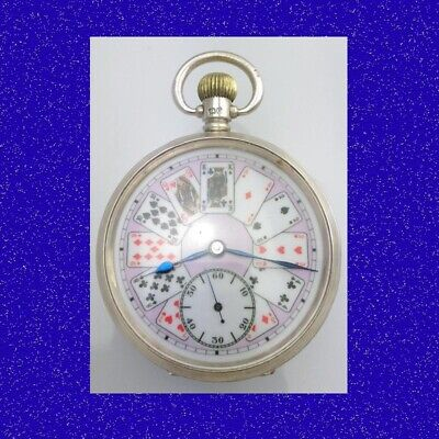 Stunning Silver Edwardian Poker Playing Card 15 Jewel Keyless Pocket Watch 1910