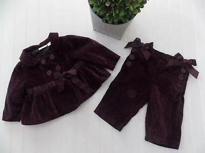 First Impressions Baby Girl 6-9 Month Purple Velvet Jacket Pants Suit Outfit Bow
