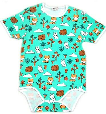 Adult Forest baby animal bodysuit romper aqua green color autistic diaper wear