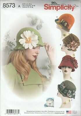 Simplicity Sewing Pattern 8573 Miss Vintage Style Cloche Flapper Hats Sz S,M,L