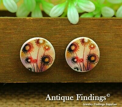 10Pcs 15mm Round Handmade Photo Wooden Craft Wood Cut Cabochon HWC020J