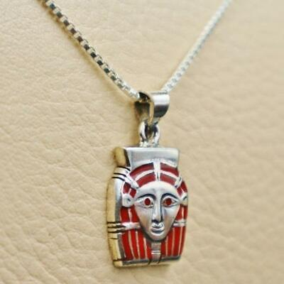 Antique Egyptian Sterling Silver Pendant Necklace Chain Queen Tiye Mask..STAMPED