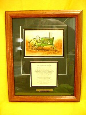 JOHN DEERE A  TRACTOR PRINT with HISTORY - FRAMED - by EDWARD CHARLES SCHAEFER