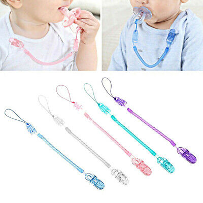 5pcs Baby Toddler Spring Dummy Soother Nipple Clip Pacifier Chain Holder Strap