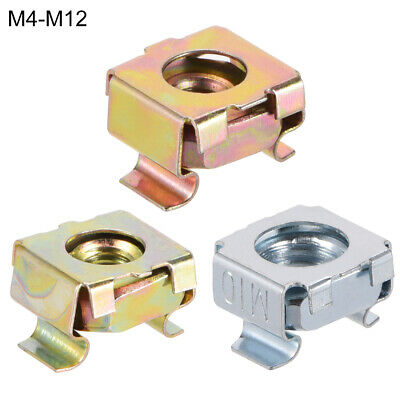 M4-M12 Cage Nuts for Server Rack Cabinet, Carbon Steel Yellow Zinc Plated