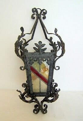 Lantern Iron Forge with Stained Glass Early Twentieth Height 72 CM