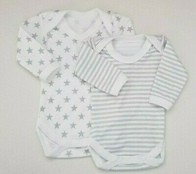 Baby Long Sleeve Body Suit Baby-grow Romper Vests  100% Cotton Made in ENGLAND