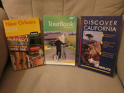 US Travel Guides 3 Lot New Orleans Fodor's Pennsylvania AAA California Berlitz
