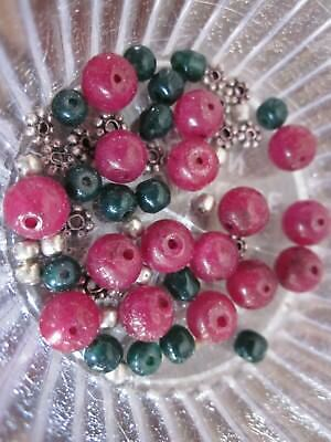 Glass Craft Beads Round Flower Silver Charms Loose Spacer Findings Red Green