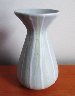 "West German Pottery Vase 5 3/4"" Grey White Yellow Stripes Vintage Germany"