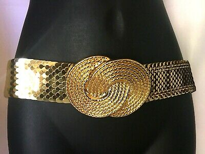 Wide Vintage 70s 80s Disco Retro Gold Snake Fish Scale Modernist Buckle Signed