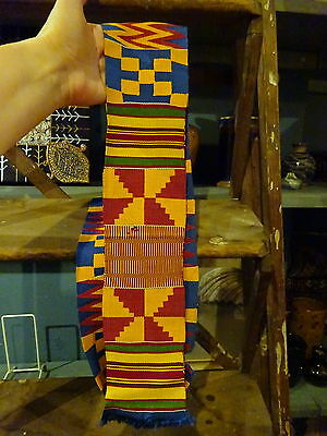 Antique Africa Kente Hand Woven Textile Sash Belt