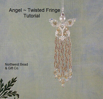 PATTERN ONLY Twisted Fringe Angel, Swarovski Crystals, Advanced Bead Weave Level