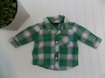 Baby Gap Boy 3-6M Green Plaid Button Down Dress or Casual Shirt Easter 3-6 Month