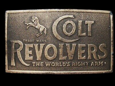 LC27146 VINTAGE 1970s **COLT REVOLVERS** THE WORLD'S RIGHT ARM GUN BELT BUCKLE